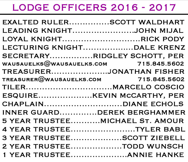 Lodge officers 2016-2017